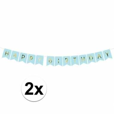 2x lichtblauwe diy feest slingers happy birthday 1,75 meter- feestje!