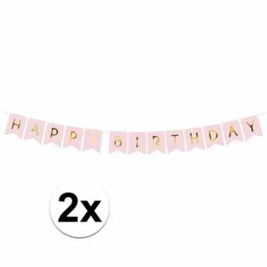 2x lichtroze diy feest slingers happy birthday 1,75 meter- feestje!