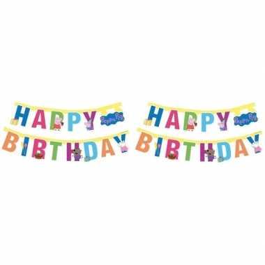 2x peppa pig feest wenslijn/letterslinger happy birthday 140 cm - fee