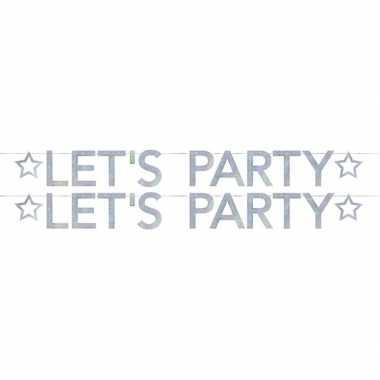 2x slingers lets party holografische feest slinger 2.05 meter- feestj