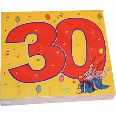 32x 30 jaar leeftijd themafeest servetten confetti 33 x 33 cm- feestj