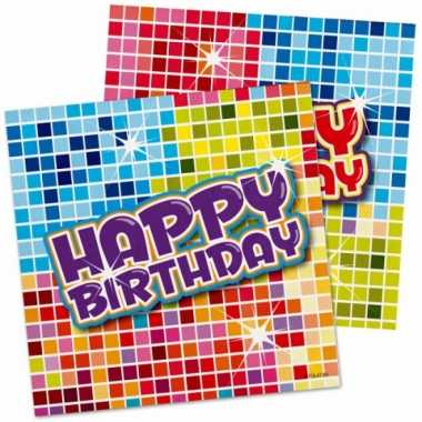 32x happy birthday themafeest servetten 25 x 25 cm- feestje!