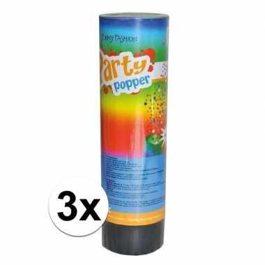 3x feest poppers 15 cm- feestje!