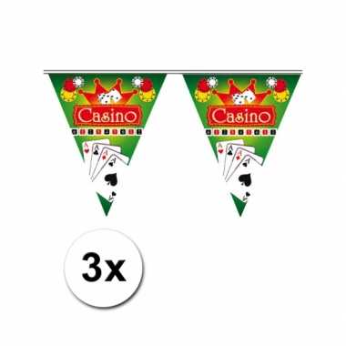 3x feestdecoratie vlaggenlijn casino- feestje!