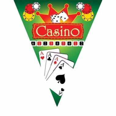 3x feestdecoratie vlaggenlijnen casino- feestje!