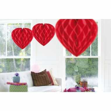 3x feestversiering decoratie hart rood 30 cm- feestje!