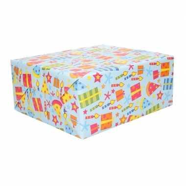 3x geschenkpapier gekleurd feesthoedjes 70 x 200 cm- feestje!