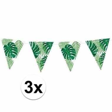 3x groene diy hawaii thema feest vlaggenlijnen 1,5 meter- feestje!