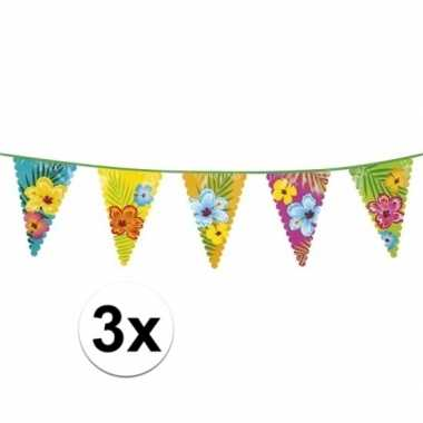 3x hawaii themafeest vlaggenlijnen 6 m- feestje!