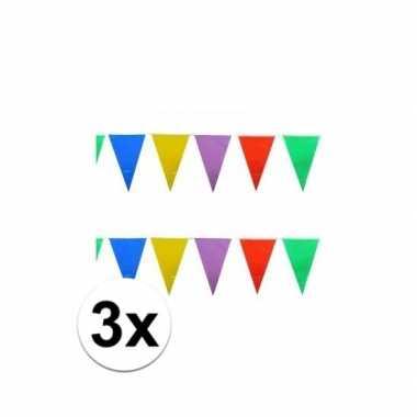 3x stuks feest vlaggenlijnen 10 meter- feestje!