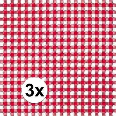 3x verpakking oktoberfest feestservetten geruit rood/wit 3-laags 20 s