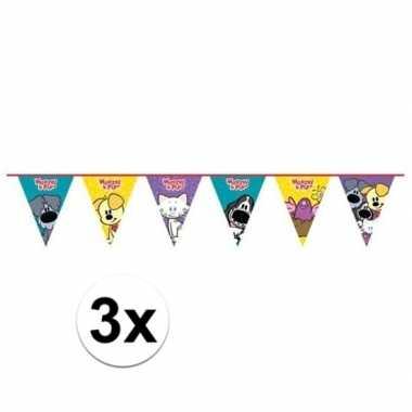3x woezel en pip themafeest vlaggenlijn 4 meter- feestje!