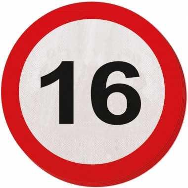 40x 16 jaar leeftijd themafeest servetten verkeersbord 33 cm ron- fee