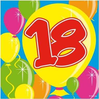 40x 18 jaar leeftijd themafeest servetten balloons 25 x 25 cm- feestj