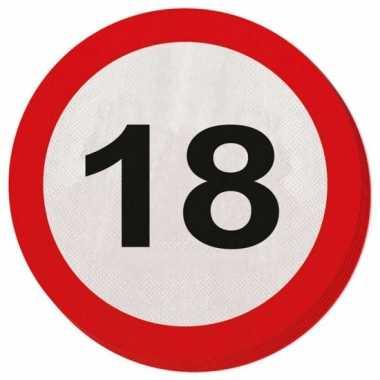 40x 18 jaar leeftijd themafeest servetten verkeersbord 33 cm ron- fee