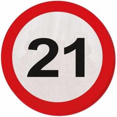 40x 21 jaar leeftijd themafeest servetten verkeersbord 33 cm ron- fee