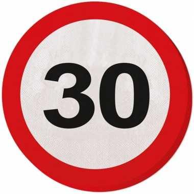 40x 30 jaar leeftijd themafeest servetten verkeersbord 33 cm ron- fee