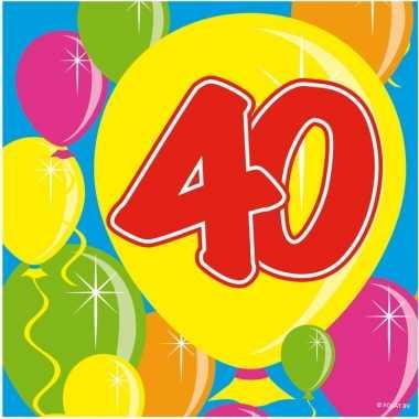 40x 40 jaar leeftijd themafeest servetten balloons 25 x 25 cm- feestj