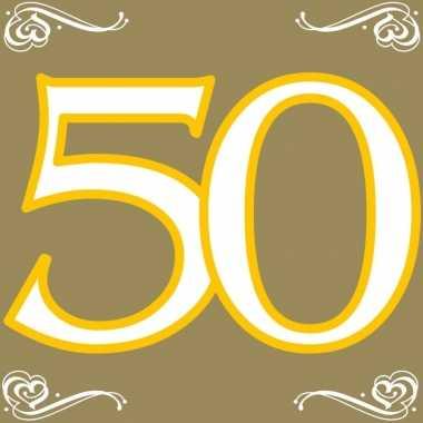 40x 50 jaar leeftijd themafeest servetten goud 33 x 33 cm papier- fee