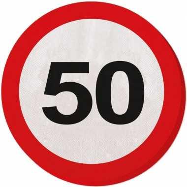 40x 50 jaar leeftijd themafeest servetten verkeersbord 33 cm ron- fee