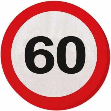 40x 60 jaar leeftijd themafeest servetten verkeersbord 33 cm ron- fee