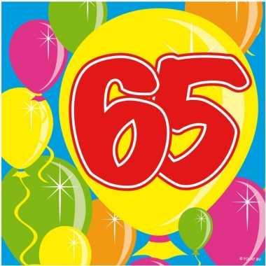 40x 65 jaar leeftijd themafeest servetten balloons 25 x 25 cm- feestj