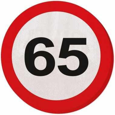 40x 65 jaar leeftijd themafeest servetten verkeersbord 33 cm ron- fee