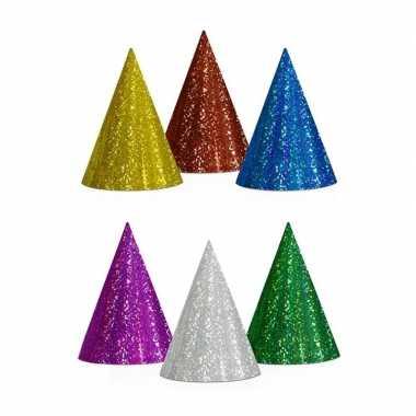 40x gekleurde feesthoedjes glitter- feestje!