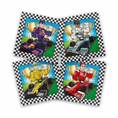 40x race/formule 1 themafeest servetten gekleurd 33 x 33 cm- feestje!