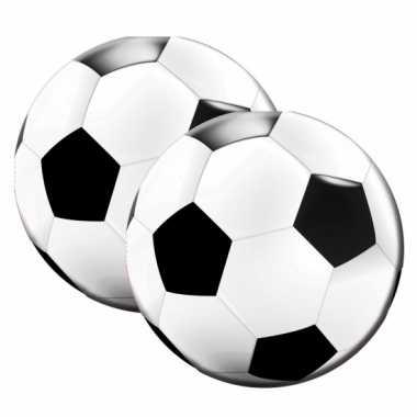 40x ronde voetbal themafeest servetten zwart/wit 16cm papier- feestje
