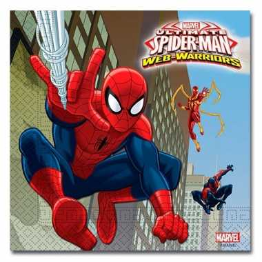 40x spiderman warrior themafeest servetten 33 x 33 cm papier- feestje