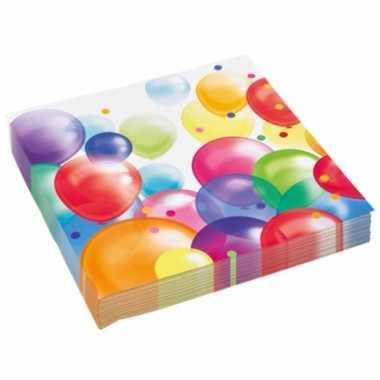 40x stuks feest servetten met ballonnen print 33 x 33 cm- feestje!