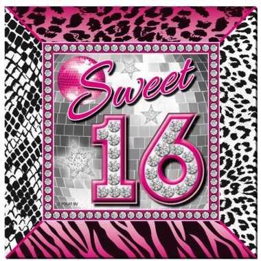 40x sweet 16 themafeest servetten 25 x 25 cm papier- feestje!