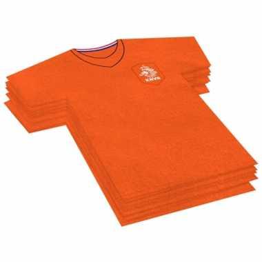 40x voetbalshirt themafeest servetten oranje 16 x 15 cm papier- feest