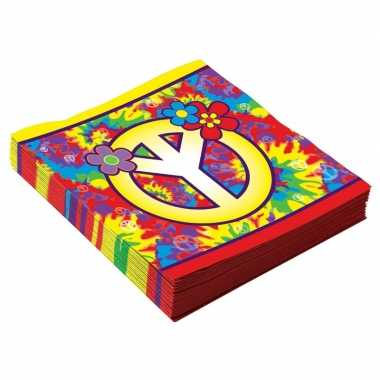 48x hippie sixties themafeest servetten 33 cm- feestje!