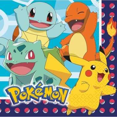 48x pokemon themafeest servetten 33 x 33 cm- feestje!
