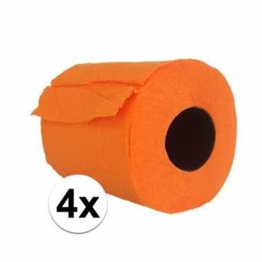 4x feest oranje toiletpapier- feestje!