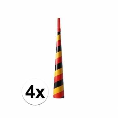 4x feest toeters zwart/rood/geel- feestje!