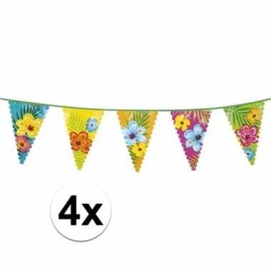 4x hawaii themafeest vlaggenlijnen 6 m- feestje!