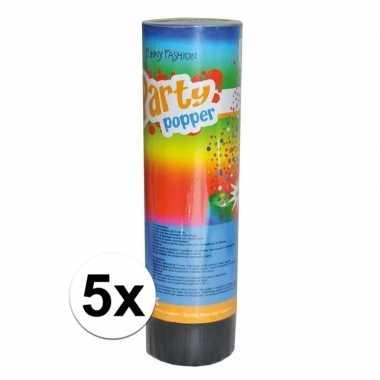 5x feest poppers 15 cm- feestje!