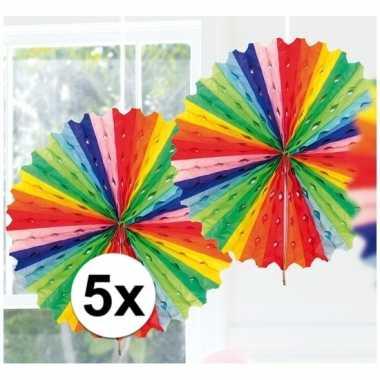 5x feestversiering regenboog kleuren decoratie waaier 45 cm- feestje!