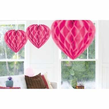 5x feestversiering roze decoratie hart 30 cm- feestje!