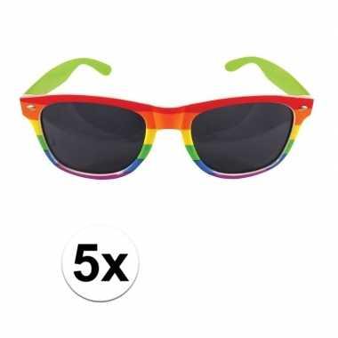 5x regenboog feest brillen voor volwassenen- feestje!