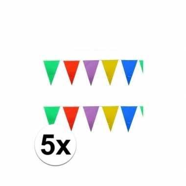 5x stuks feest vlaggenlijnen 10 meter- feestje!