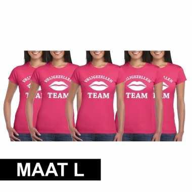 5x vrijgezellenfeest team t-shirt roze dames maat lfeestje!