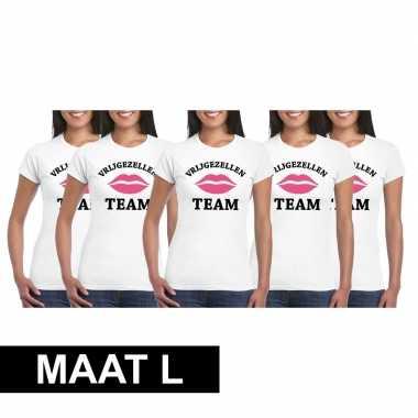 5x vrijgezellenfeest team t-shirt wit dames maat lfeestje!