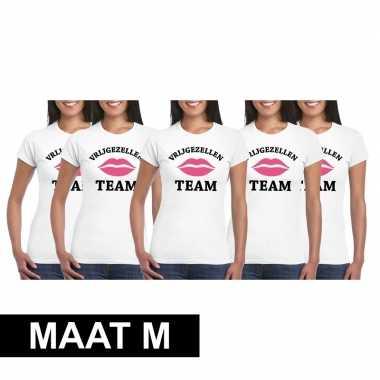 5x vrijgezellenfeest team t-shirt wit dames maat mfeestje!