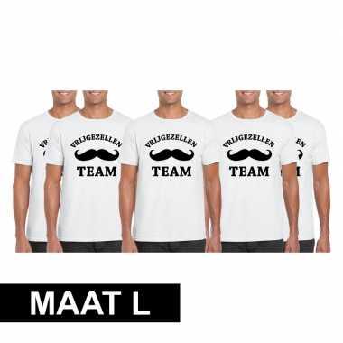 5x vrijgezellenfeest team t-shirt wit heren maat lfeestje!