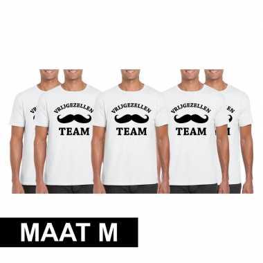 5x vrijgezellenfeest team t-shirt wit heren maat mfeestje!
