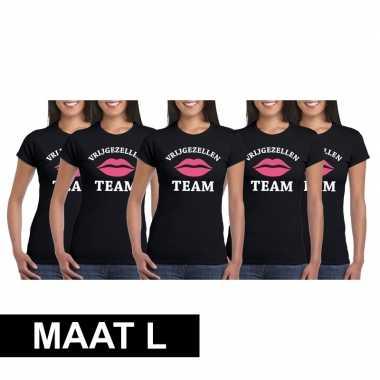 5x vrijgezellenfeest team t-shirt zwart dames maat lfeestje!